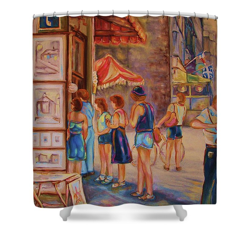 Old Montreal City Scenes Shower Curtain featuring the painting Artists Corner Rue St Jacques by Carole Spandau