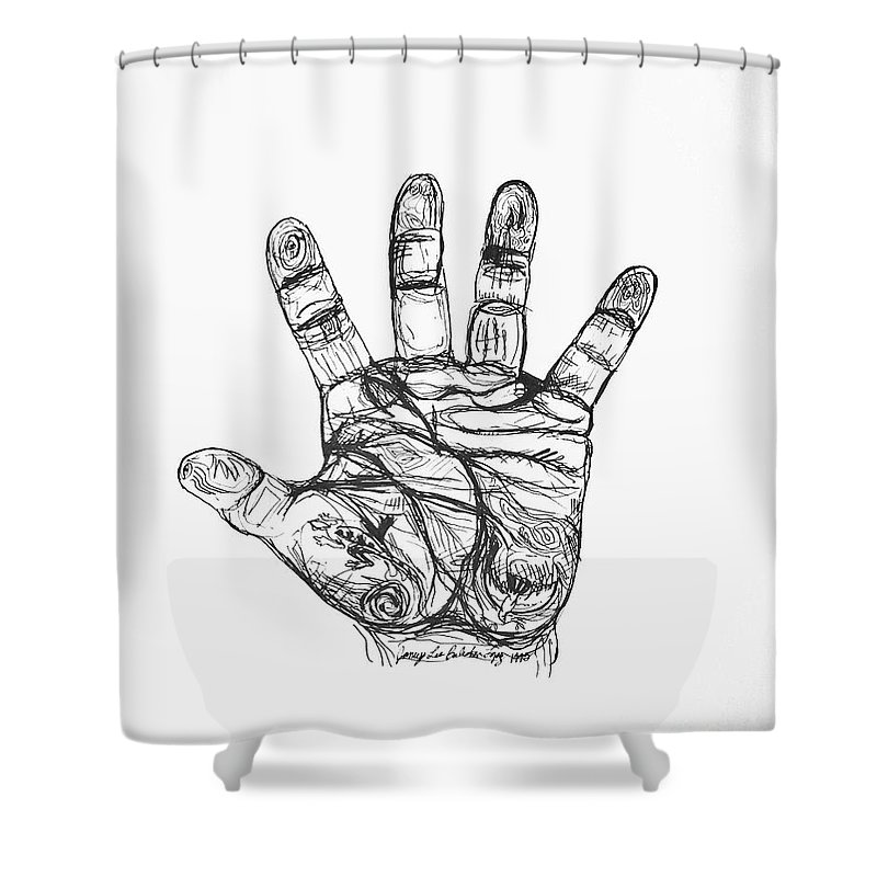 Hands Shower Curtain featuring the drawing Artists Hand Variation I by Jamey Balester