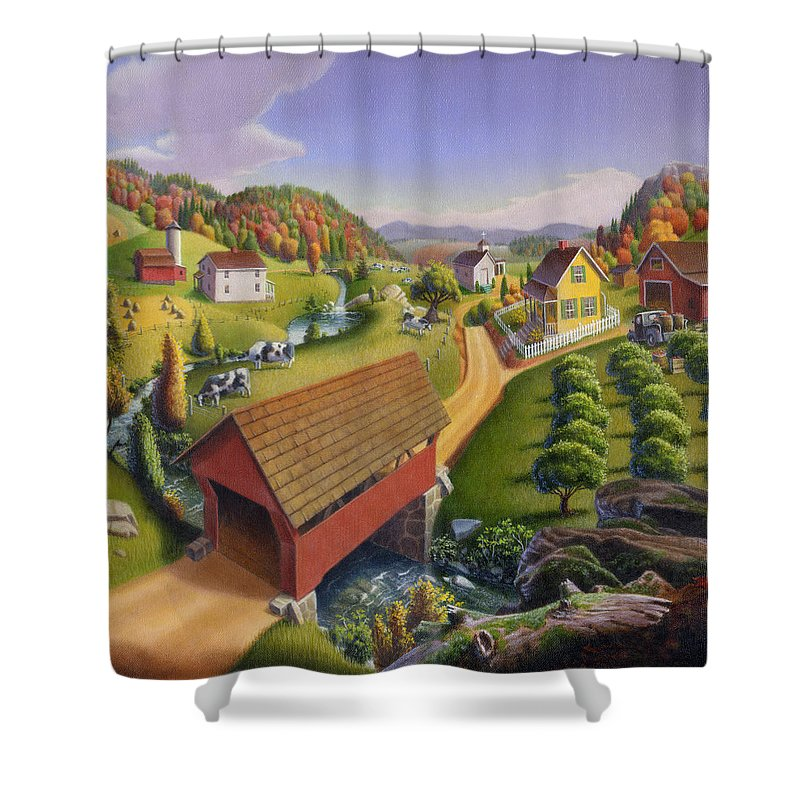 Covered Bridge Shower Curtain featuring the painting Folk Art Covered Bridge Appalachian Country Farm Summer Landscape - Appalachia - Rural Americana by Walt Curlee
