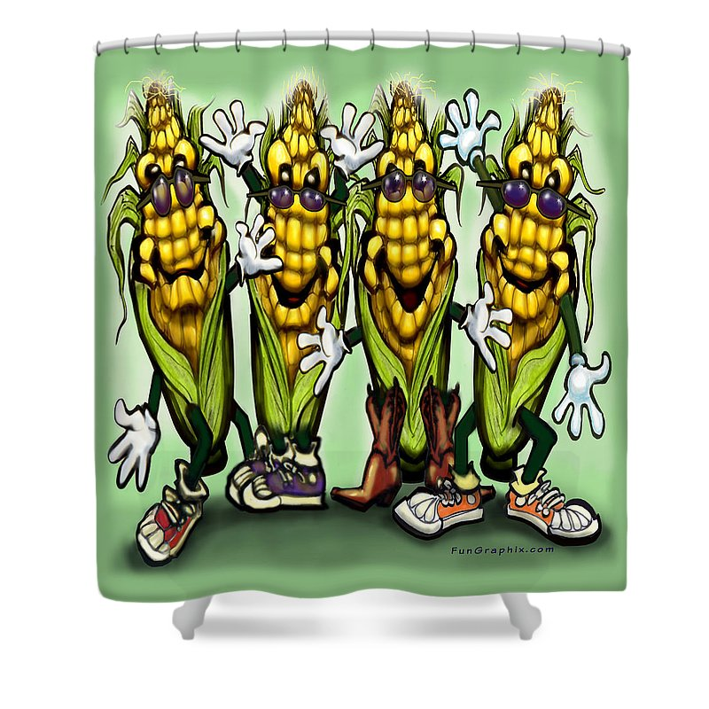 Corn Shower Curtain featuring the digital art Corn Party by Kevin Middleton