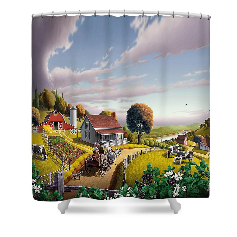 Farm Landscape Shower Curtain featuring the painting Appalachian Blackberry Patch Rustic Country Farm Folk Art Landscape - Rural Americana - Peaceful by Walt Curlee