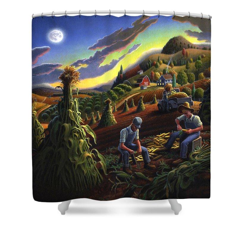 Autumn Shower Curtain featuring the painting Autumn Farmers Shucking Corn Appalachian Rural Farm Country Harvesting Landscape - Harvest Folk Art by Walt Curlee