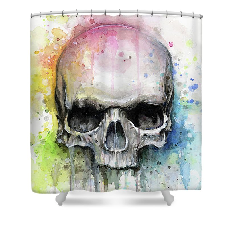 Skull Shower Curtain featuring the painting Skull Watercolor Painting by Olga Shvartsur