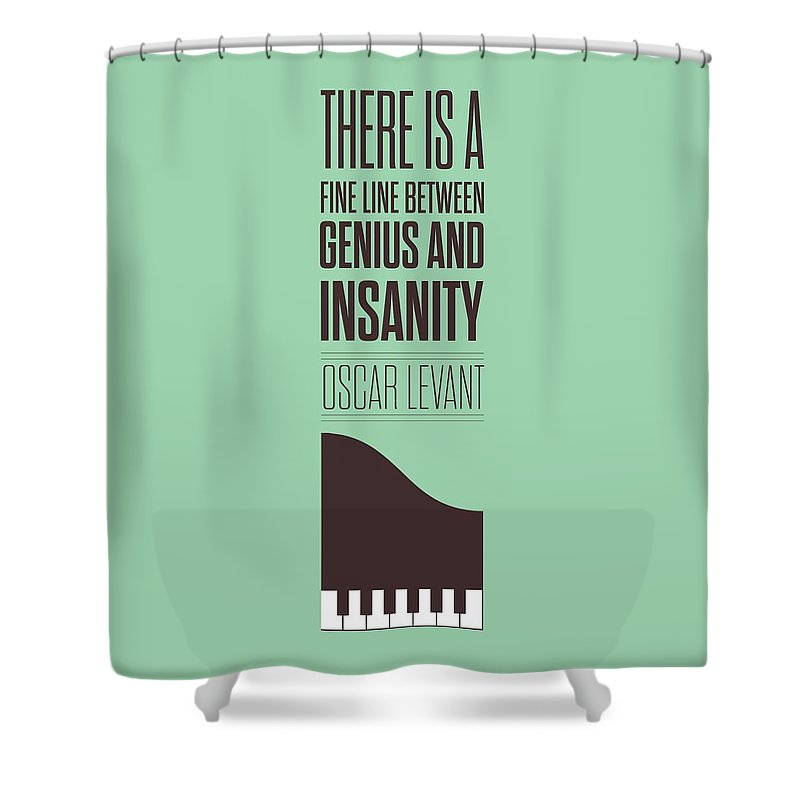 Oscar Levant Shower Curtain featuring the digital art Oscar Levant inspirational Typography quotes poster by Lab No 4 - The Quotography Department