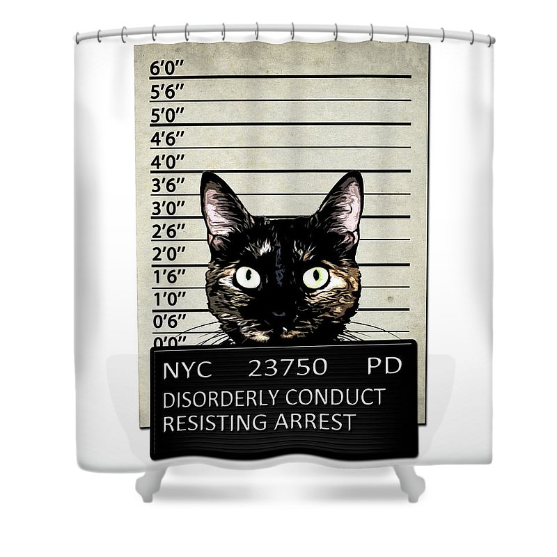Cat Shower Curtain featuring the mixed media Kitty Mugshot by Nicklas Gustafsson