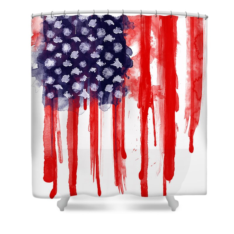 America Shower Curtain featuring the painting American Spatter Flag by Nicklas Gustafsson