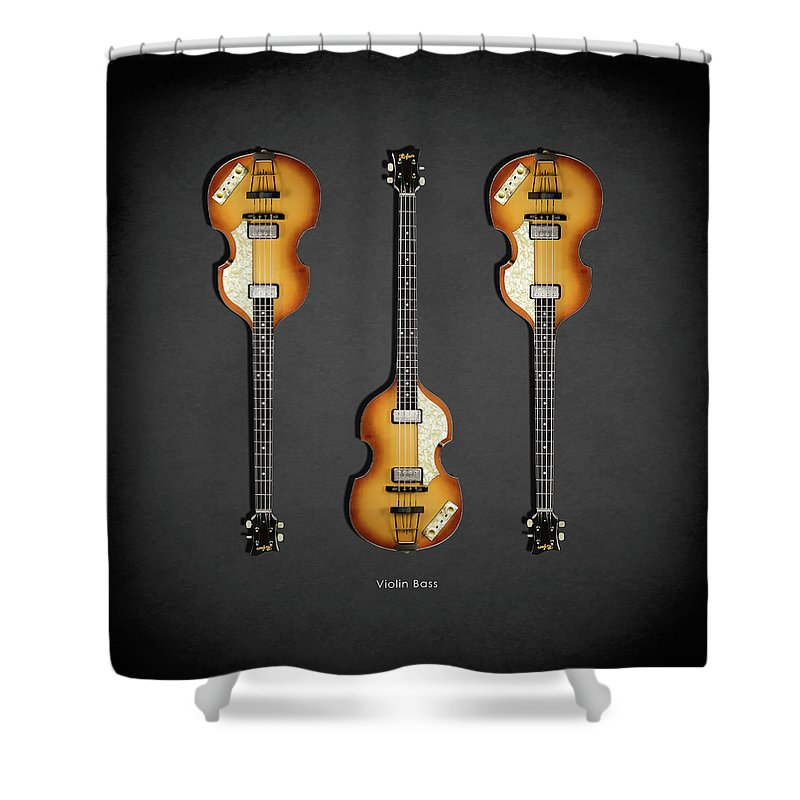 Hofner Violin Bass Shower Curtain featuring the photograph Hofner Violin Bass 62 by Mark Rogan