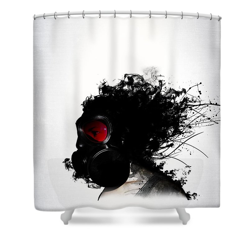 Gas Shower Curtain featuring the mixed media Ghost Warrior by Nicklas Gustafsson