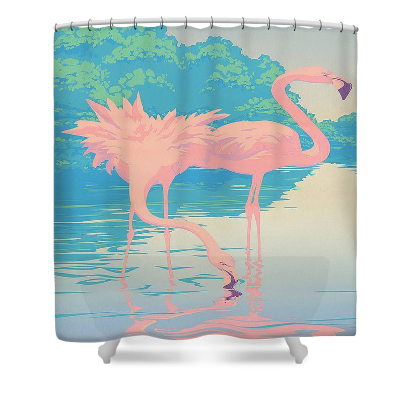 Flamingo Shower Curtain Featuring The Painting Abstract Pink Flamingos Retro Pop Art Nouveau Tropical Bird 80s