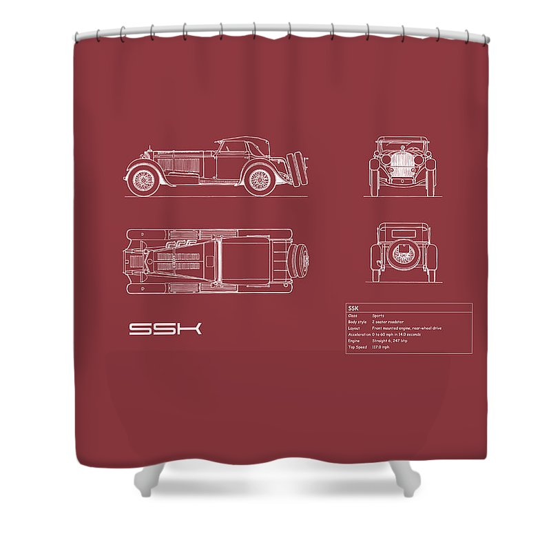 Mercedes Shower Curtain featuring the photograph Mercedes Ssk Blueprint - Red by Mark Rogan