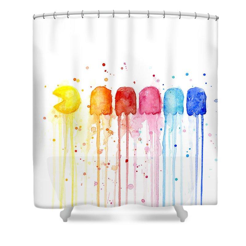 Pacman Watercolor Rainbow Shower Curtain For Sale By Olga Shvartsur