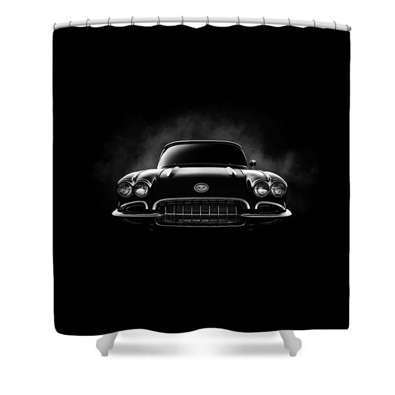 Corvette Shower Curtain featuring the digital art Circa '59 by Douglas Pittman