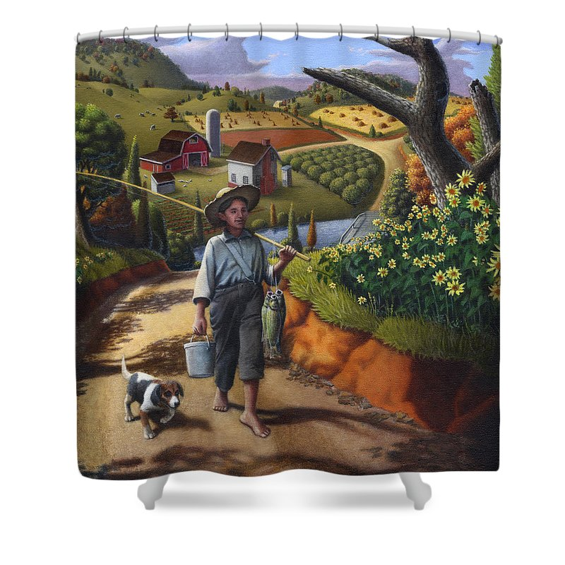 Boy And Dog Shower Curtain featuring the painting Boy And Dog Farm Landscape - Flashback - Childhood Memories - Americana - Painting - Walt Curlee by Walt Curlee
