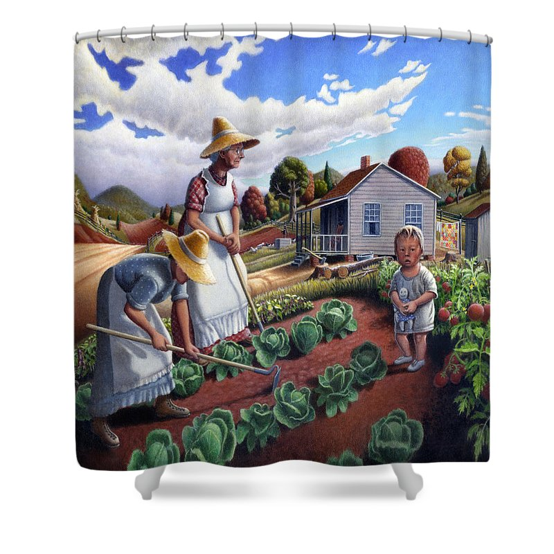 Farm Family Shower Curtain featuring the painting Family Vegetable Garden Farm Landscape - Gardening - Childhood Memories - Flashback - Homestead by Walt Curlee