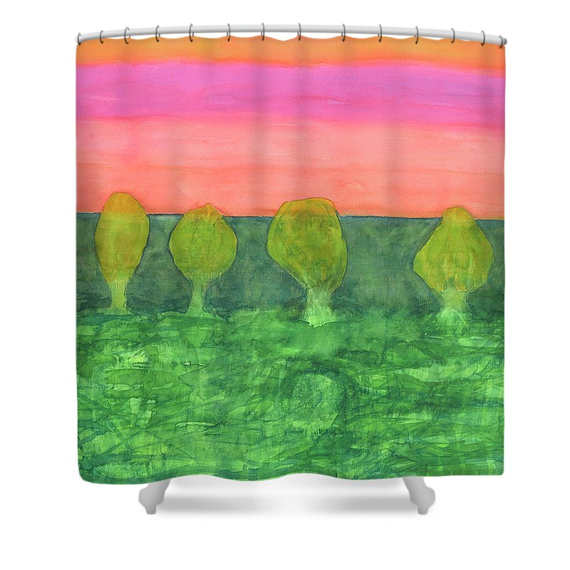 Pink Shower Curtain featuring the painting Trees, Green And Evening Sky by Heidi Capitaine
