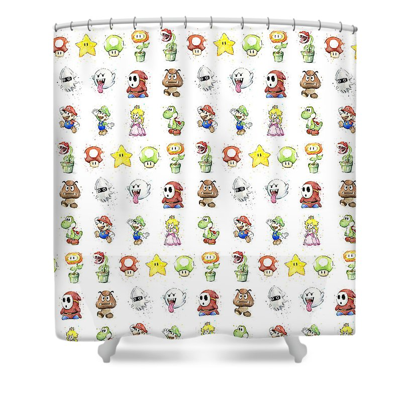 Mario Shower Curtain featuring the painting Mario Characters in Watercolor by Olga Shvartsur