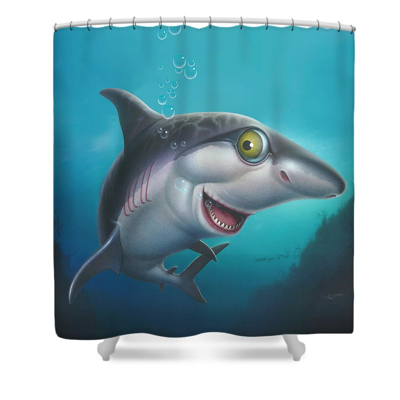 Shark Shower Curtain featuring the painting friendly Shark Cartoony cartoon under sea ocean underwater scene art print blue grey by Walt Curlee