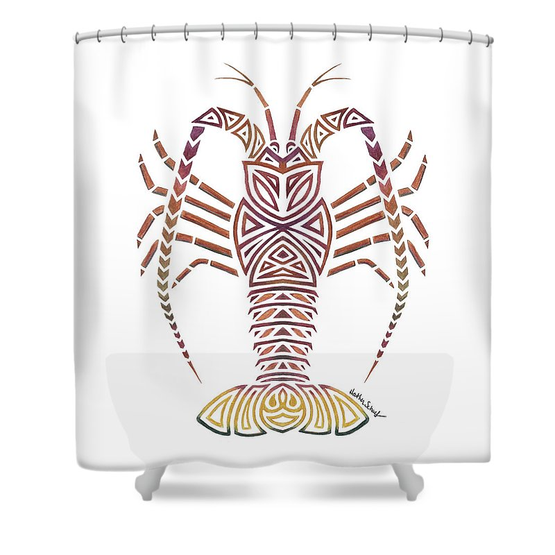 Lobster Shower Curtain Featuring The Drawing Tribal Caribbean By Heather Schaefer