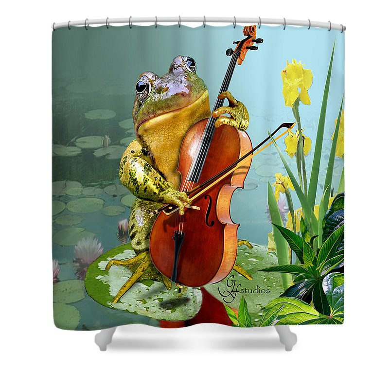 Humorous Scene Frog Playing Cello In Lily Pond Shower Curtain featuring the painting Humorous Scene Frog Playing Cello In Lily Pond by Regina Femrite