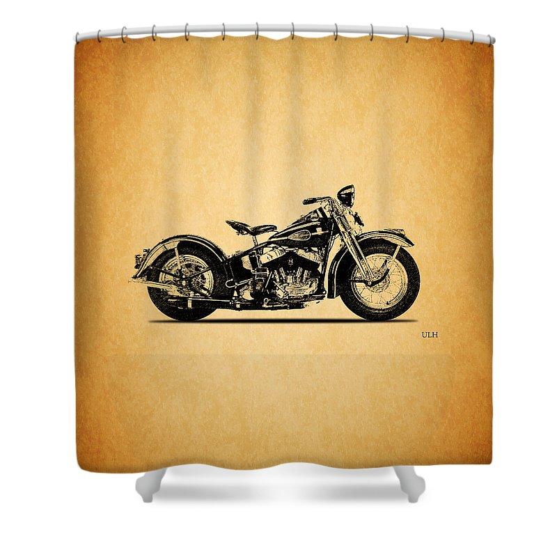 Harley Davidson Ulh Shower Curtain featuring the photograph Harley Davidson ULH 1941 by Mark Rogan