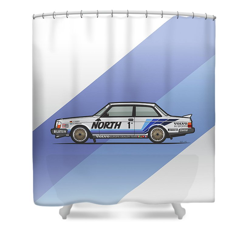 Car Shower Curtain Featuring The Digital Art Volvo 240 242 Turbo Group A Homologation Race