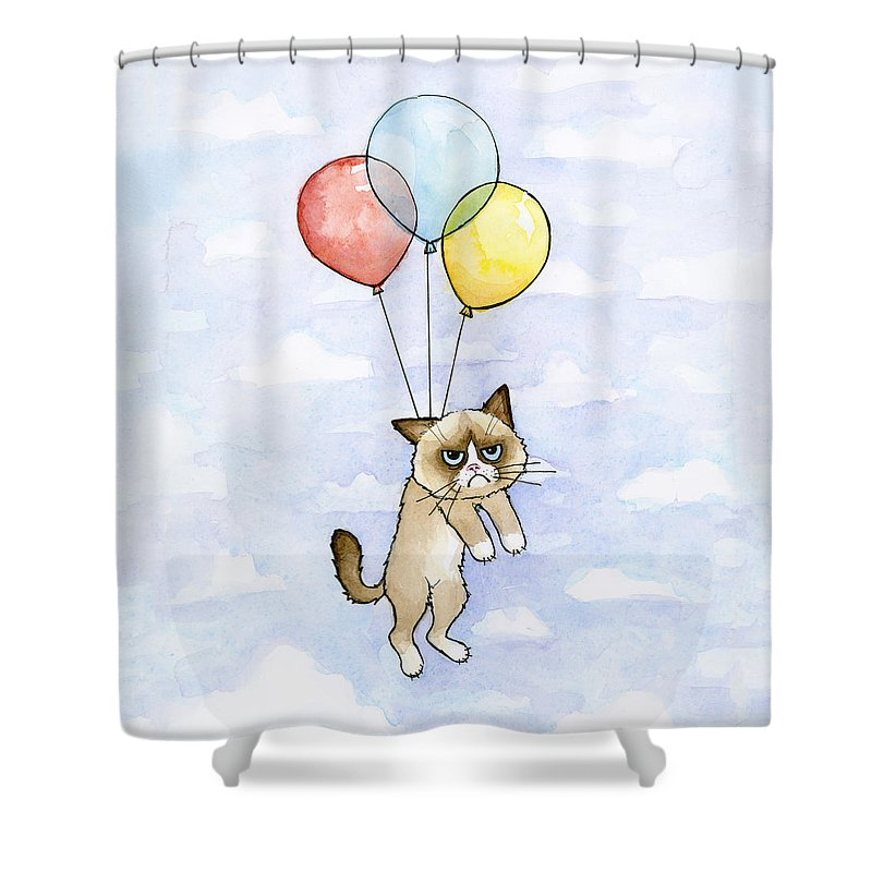 Grumpy Shower Curtain featuring the painting Grumpy Cat And Balloons by Olga Shvartsur