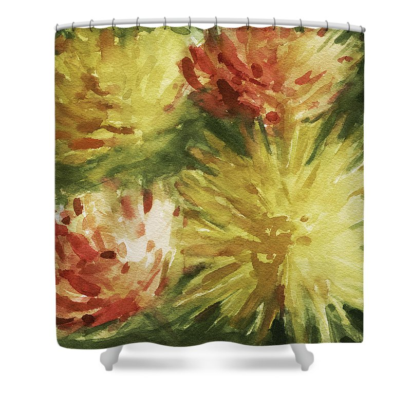Floral Shower Curtain featuring the painting Cremon Mums by Beverly Brown