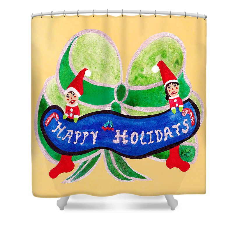 Surrealism Shower Curtain featuring the painting Happy Holidays by Listen LeeMarie