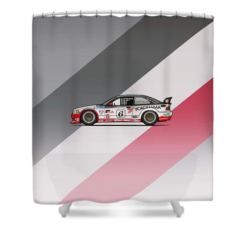 Car Shower Curtain Featuring The Digital Art Bmw 3 Series E36 M3 Gts 2 Ptg