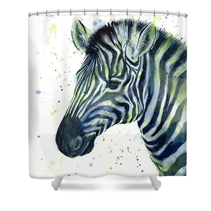 Zebra Shower Curtain featuring the painting Zebra Watercolor Blue Green by Olga Shvartsur