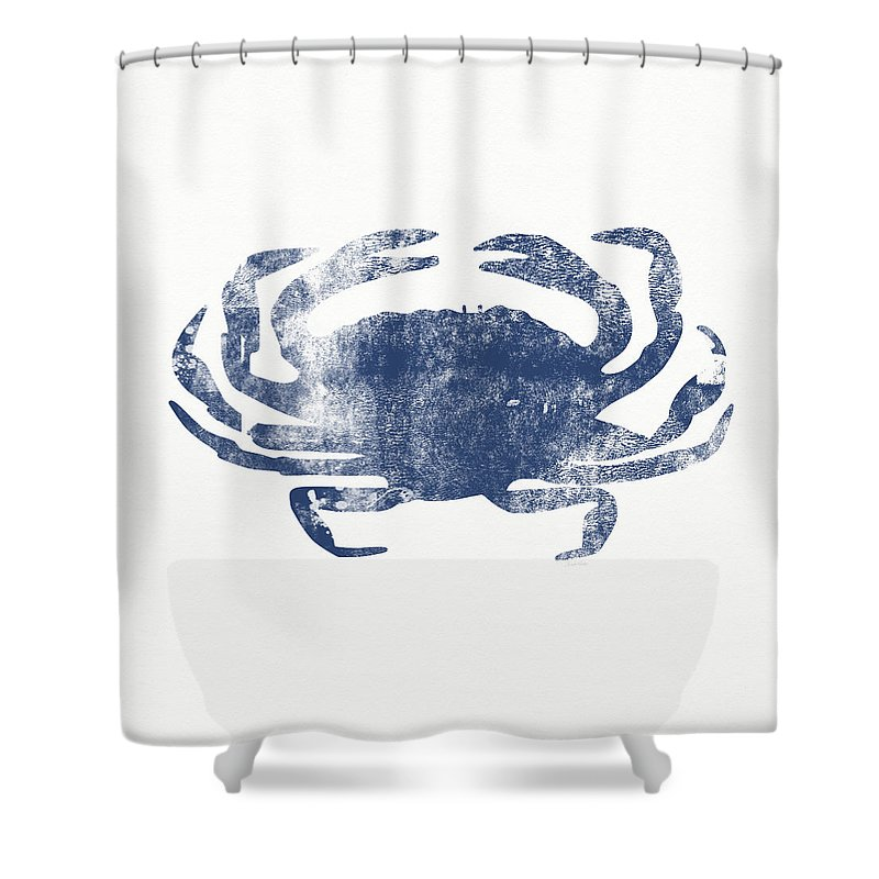 Crab Shower Curtain Featuring The Painting Blue Art By Linda Woods