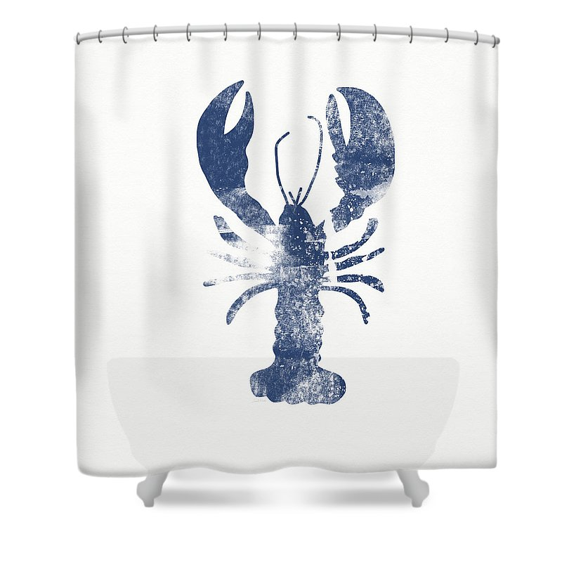 Crustacean Shower Curtain Featuring The Painting Blue Lobster Art By Linda Woods