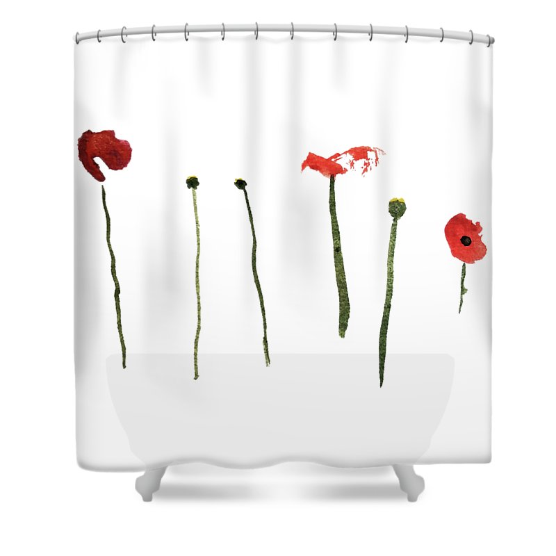 Poppy Shower Curtain featuring the painting Red Poppies by Stephanie Peters