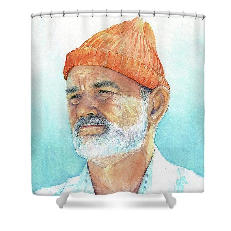 Bill Murray Shower Curtain featuring the painting Bill Murray Steve Zissou Life Aquatic by Olga Shvartsur