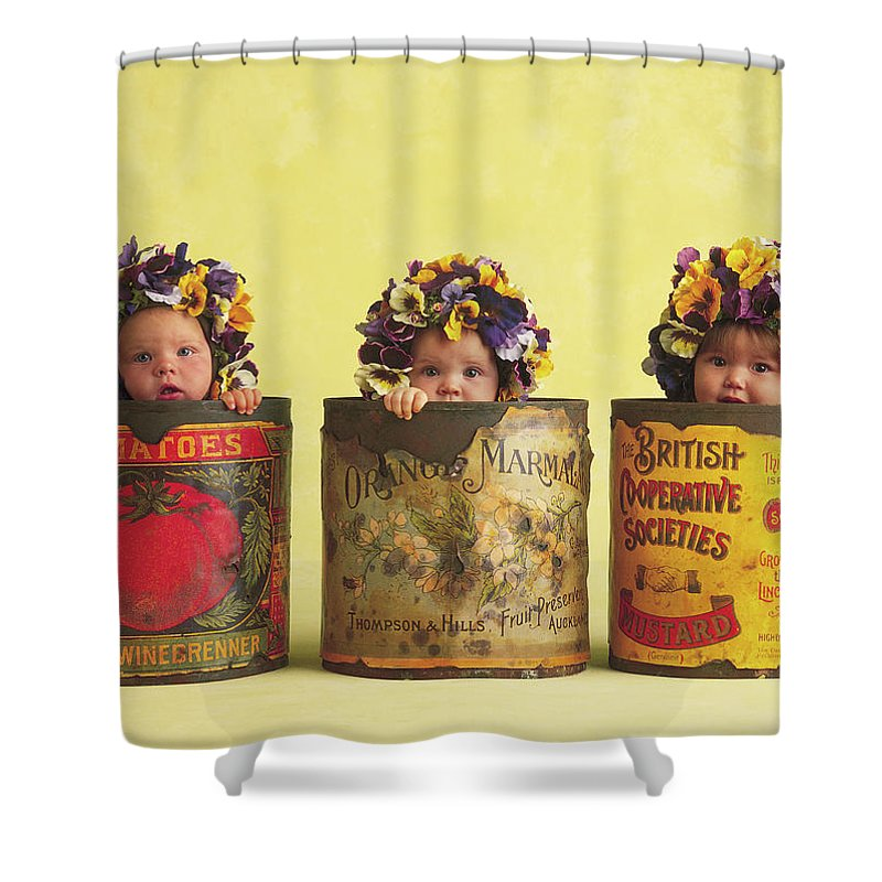 Pansy Shower Curtain Featuring The Photograph Tins By Anne Geddes
