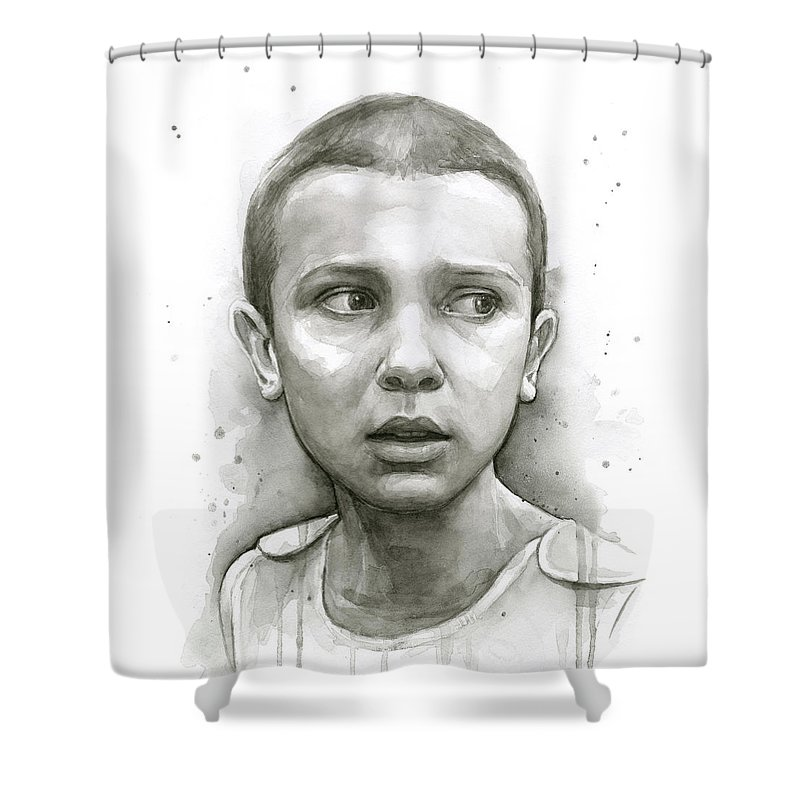 Stranger Things Shower Curtain featuring the painting Stranger Things Eleven Upside Down Art Portrait by Olga Shvartsur