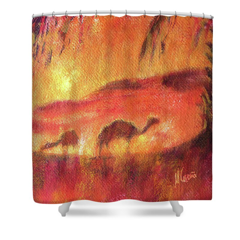Camels Shower Curtain featuring the painting Sahara by Miquel Cazanya