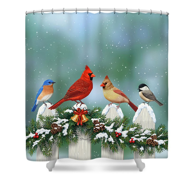 Winter Birds And Christmas Garland Shower Curtain For Sale By Crista Forest