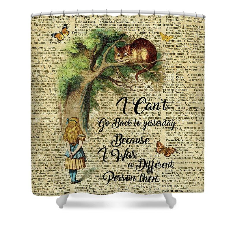 Alice In Wonderland Shower Curtain Featuring The Digital Art Quotecheshire Cat