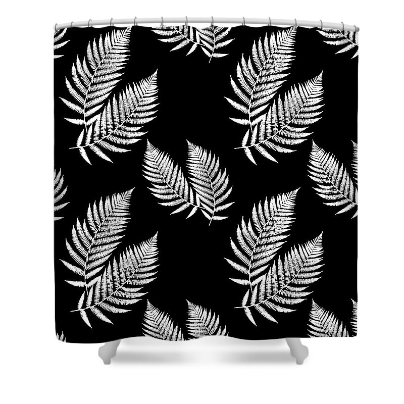 Fern Leaves Shower Curtain Featuring The Mixed Media Pattern Black And White By Christina Rollo