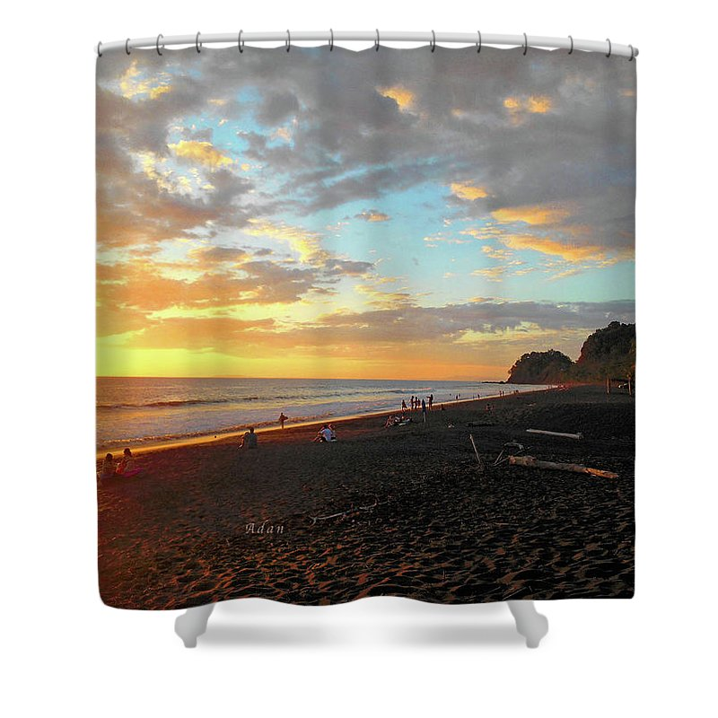Costa Rica Shower Curtain featuring the photograph Playa Hermosa Puntarenas Costa Rica - Sunset A One by Felipe Adan Lerma
