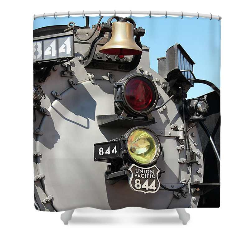 2012 September Shower Curtain featuring the photograph Up 844 Bell And Headlights by Bill Kesler