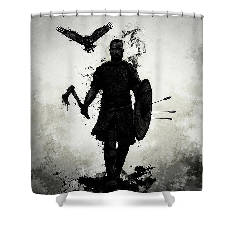 Viking Shower Curtain featuring the mixed media To Valhalla by Nicklas Gustafsson