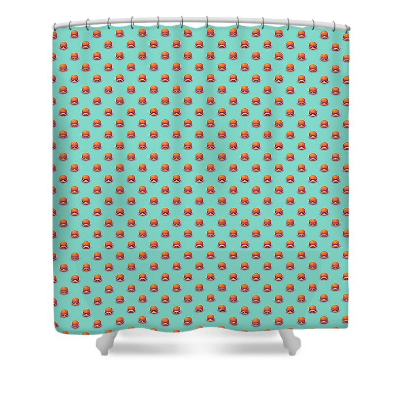 Burger Shower Curtain Featuring The Digital Art Isometric