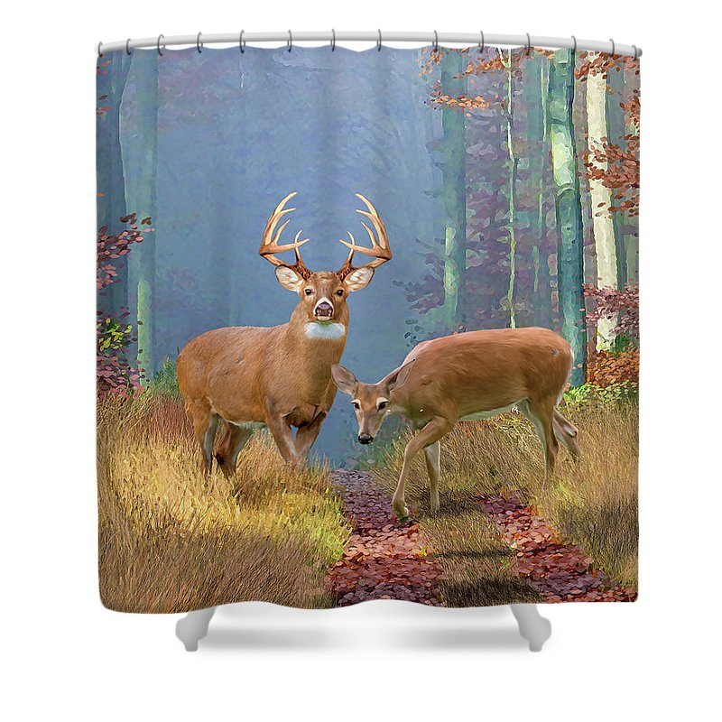 Deer Shower Curtains   Rustic Cabin Decor Featuring The Whitetail Deer  Painting Time Of Endeerment By