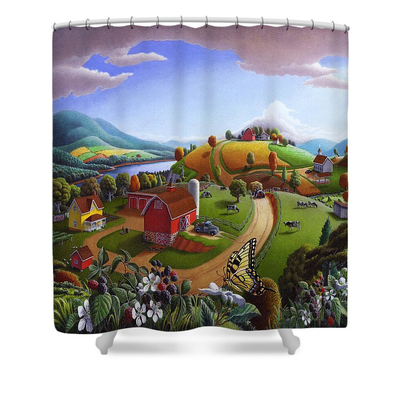 Folk Art Shower Curtain featuring the painting Folk Art Blackberry Patch Rural Country Farm Landscape Painting - Blackberries Rustic Americana by Walt Curlee