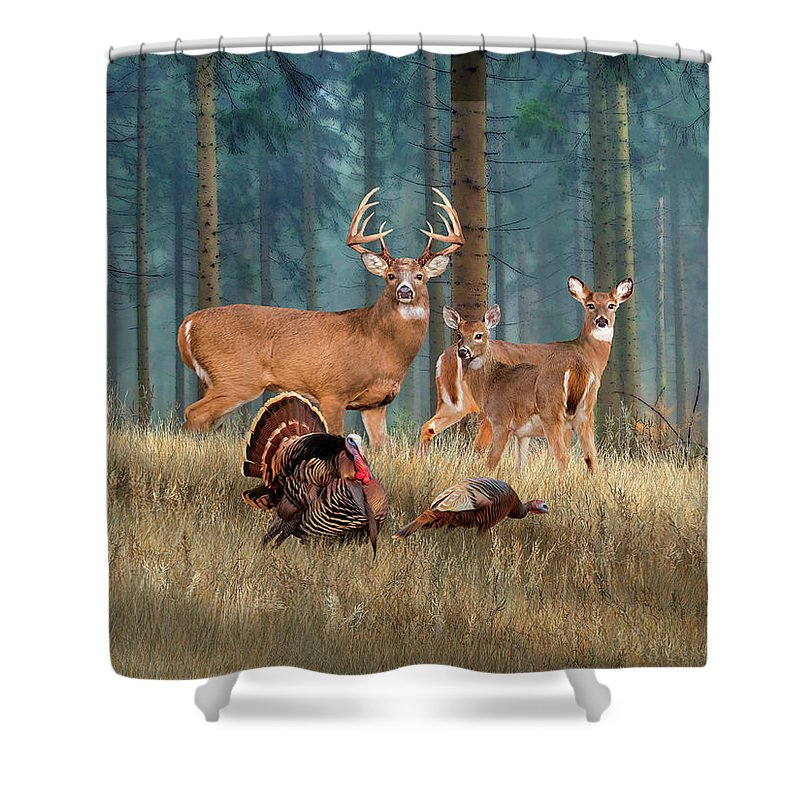 High Quality Deer Shower Curtains   Rustic Cabin Decor Featuring The Whitetail Deer  Painting The Gathering By Dale