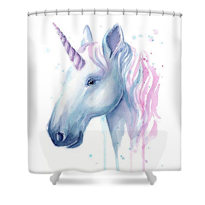Unicorn Shower Curtain featuring the painting Cotton Candy Unicorn by Olga Shvartsur