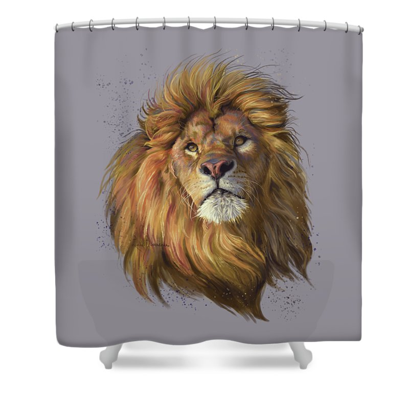 Lion Shower Curtain Featuring The Painting African By Lucie Bilodeau