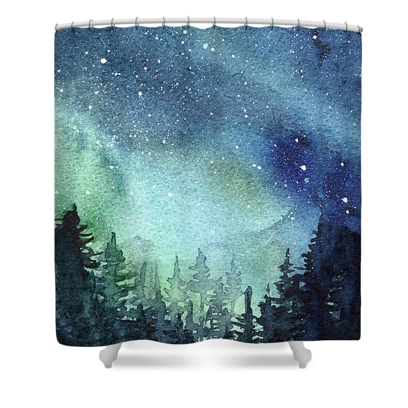 Watercolor Galaxy Shower Curtain featuring the painting Galaxy Watercolor Aurora Painting by Olga Shvartsur